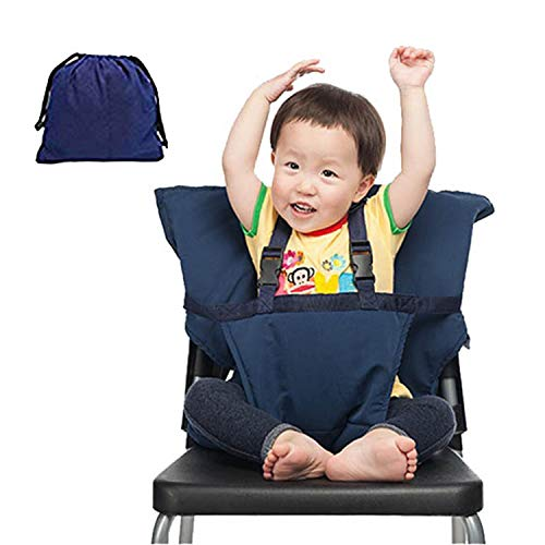 Baby Chair Harness,Portable Feeding Safety Seat,Cotton Travel Feeding Booster for Baby Kid Toddler,Adjustable Straps,Shoulder Belt,Easy Install,Perfect for Restaurants/Travel,19In,Dark Blue,44LBS from Cytsj