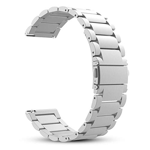 Q-link Silver Pebble - Fintie 22mm Quick Release Bracelet Stainless Steel Metal Strap Wristband Replacement Watch Band, Silver