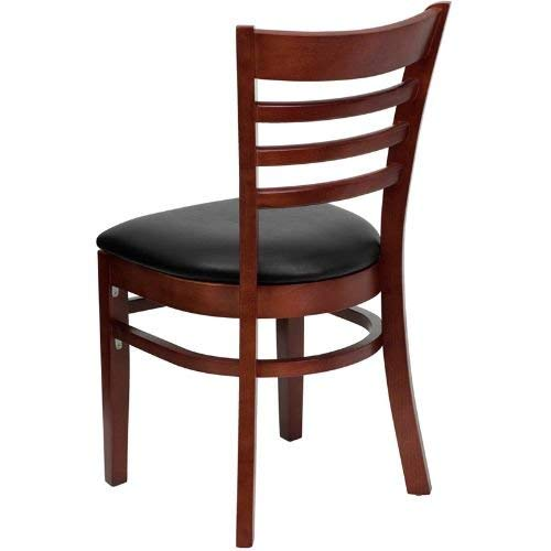 Flash Furniture HERCULES Series Ladder Back Mahogany Wood Restaurant Chair - Black Vinyl Seat