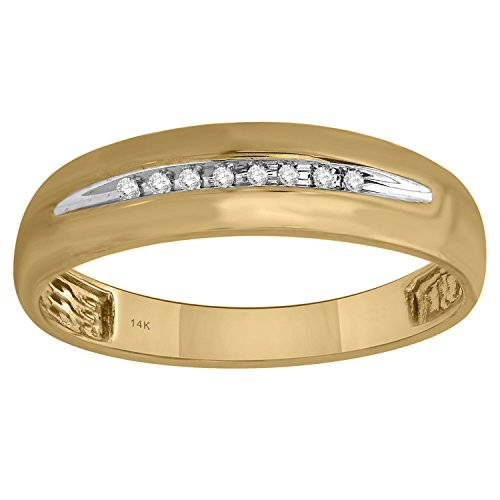 10K Yellow Gold Diamond Accent Single Row Classic Men's Wedding Band (Yellow Classic Single Gold Ring)