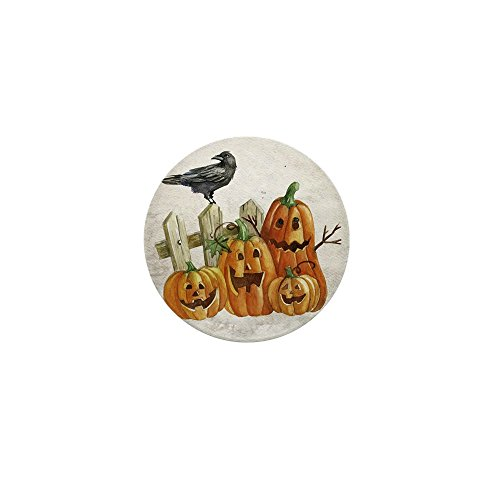 Mini Button Cute Halloween Pumpkins and Crow
