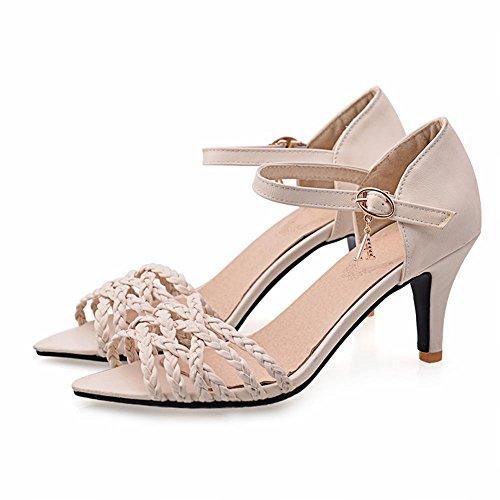 Carol Chaussures Mode Femmes Boucle Tricot Sexy Charmes Haut Talon Aiguille Sandales Beige