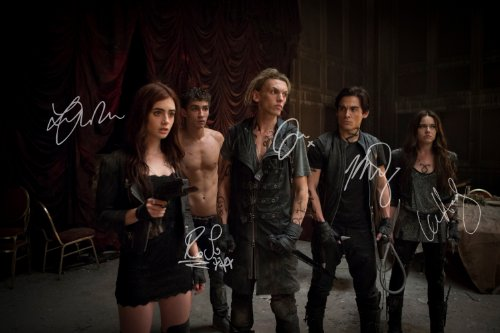 The Mortal Instruments City of Bones reprint signed movie cast photo by All 5