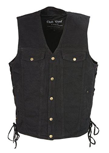 Club Vest  Men's Side Lace Denim Vest w/ Chest Pockets  (Black, 5X-Large), 1 Pack