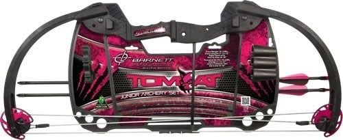 Barnett TOMCAT Compound Bow with Adjustable Draw Length/Weight & 60-70% Let-Off, Constructed to ATA/AMO Standards, RIGHT HANDED ONLY, Pink Camouflage Design by Barnett