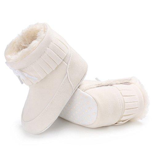 Mehr Sohlen mit Weiß Niedlich und Herbst mit Casual Winter Weiche Baby Kinderschuhe Warme YiJee Villus Schneestiefel Kinder 61qxfU