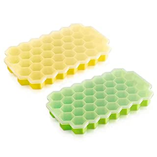 Ice Cube Trays, 2 Pack Easy-Release Silicone and Flexible 74-Ice Trays with Spill-Resistant Removable Lid, BPA Free, Stackable Ice Cube Molds for Whiskey, Cocktails, Chilled Drinks, Baby Food
