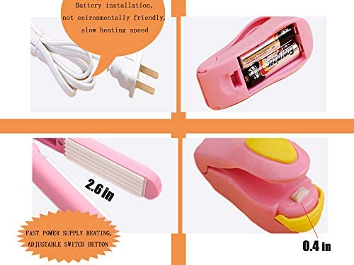 Mini Bag Sealer Heat Seal Handheld, Food Sealer Bag Resealer for Food Storage, Portable Smart Heat Sealer Machine with 43.1 inch Power Cable for Chip Bags, Plastic Bags, Snack Bags (Pink)