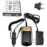 HQRP Battery Charger and Battery for SANYO m38ka, NP-45 / NP45, VPC-E1500TP, VPC-T1284 Digital Camera plus HQRP Euro Plug Adapter