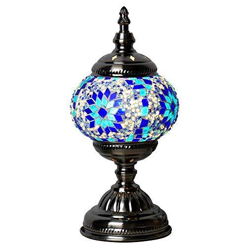 (Marrakech Handmade Turkish Mosaic Glass Table Lamp Moroccan Lantern Tiffany Style Desk Night Lights with Bronze Base (Blue))