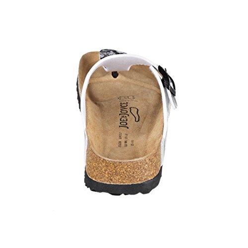 JOE N JOYCE Damen Rio Synsoft Soft Fußbett Zehentrenner White Grey Flower Größe 40 EU Normal