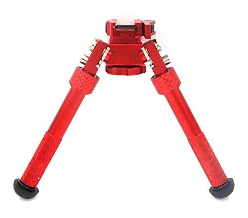 JINSE Tactical Bipod Picatinny Rail Bipod Folding Swivel Adjustable 6.5-9 Inches(Red)