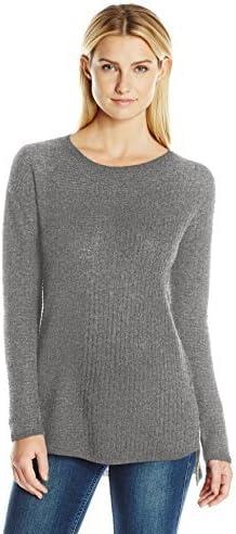 Colour Works Womens Long Sleeve Asymmetrical Rib Pullover