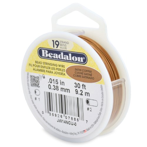 Beadalon 19-Strand Bead Stringing Wire, 0.015-Inch, Satin Copper, 30-Feet ()