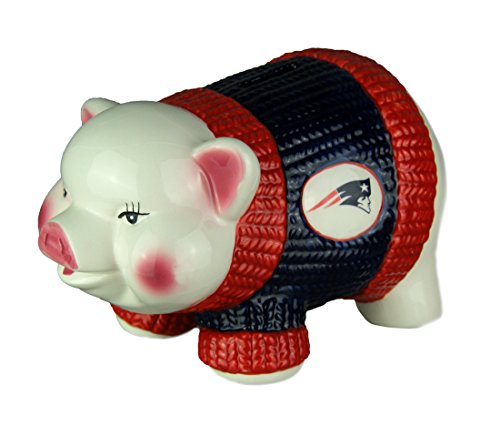 The Memory Company Adorable Ceramic New England Patriots Winter Sweater Piggy Bank