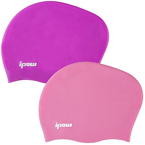 Ipow 2-Stück Hochwertige Silikon Badekappe Bademütze Badehaube für lange Haare gesund und warm Swim Cap (Lila + Pink)