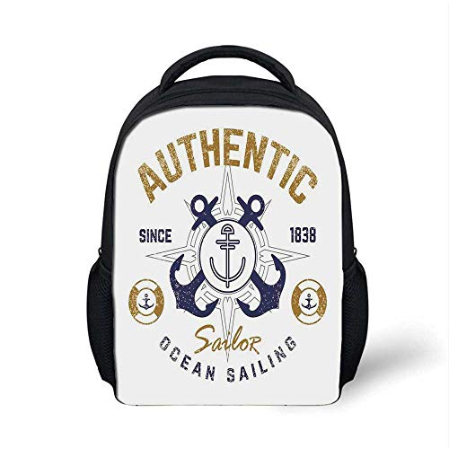 Anchor Decor Stylish Backpack,Authentic Nautical Emblem Print with Anchor Lifebuoys and Rudder Captain Features for School Travel,9.4