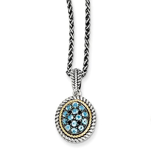 (Mireval Sterling Silver Two-Tone Rim Blue Simulated Topaz Oval Pendant Necklace, 18