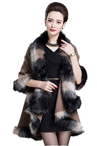 Velours Hiver Col Lady Cloak Manteau En Chaud Vison Femme Pull Kaki Châle Femmes Fourrure Imitation a7nwTPTq