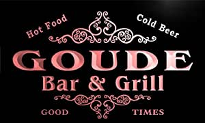 u17408-r GOUDE Family Name Gift Bar & Grill Home Beer Neon Light Sign