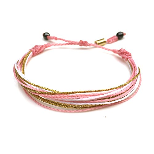 Breast Cancer Rose - Breast Cancer Awareness Pink and Gold Multistrand String Friendship Bracelet with Hematite Stones: Handmade Macrame Adjustable Bracelet by Rumi Sumaq