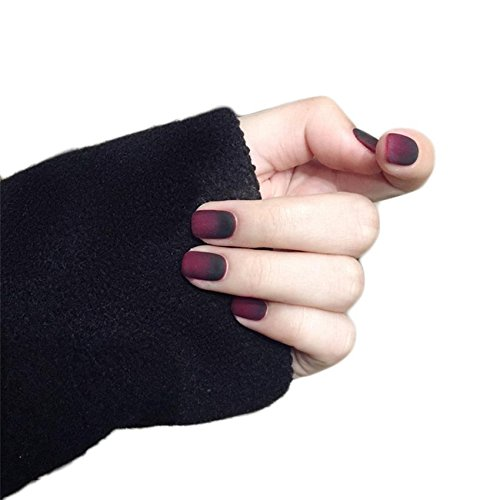 JINDIN 24 sheet Black and Red Matte Fake Nails for Women Acrylic Short False Nail Tips Full Cover French Manicure Art