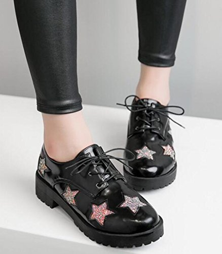 Idifu Womens Casual Stars Mid Chunky Lace Sneakers Stringate Nere