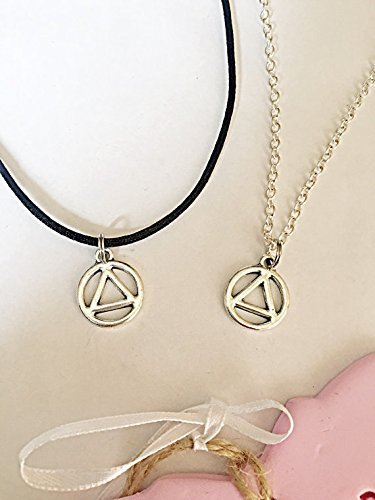 Recovery Necklace Aa Symbol Sobriety Encouragement Positivity Black