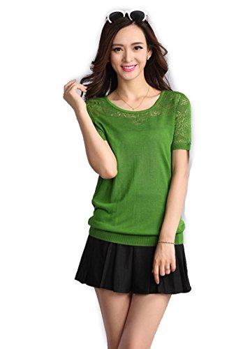 Women's Summer Solid Color Pink Silk Blouse O Neck Shirt Short Sleeve Tops (Size Medium ()
