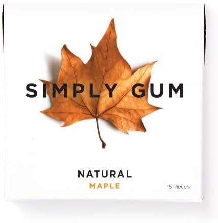 Chicle de Arce Natural Simply Gum Paquete de 6 90 Piezas Totales Vegetariano y no GMO