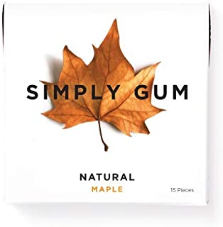product image for Simply Gum | Natural Chewing Gum | Maple | Pack of Six (90 Pieces Total) | Plastic Free + Aspartame Free + non GMO
