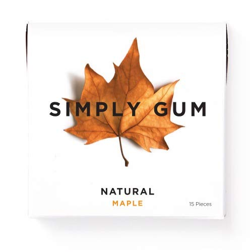 Simply Gum | Chewing Gum | Maple | Pack of Six (90 Pieces Total) | Vegan + non GMO ()
