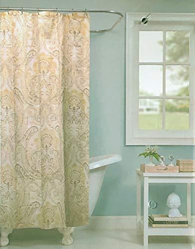 Raymond Waites Fabric Shower Curtain Damask Medallion Pattern in Shades of Yellow Gray Taupe on Cream/Off-White - Tamarind, - Raymond Waites Designer