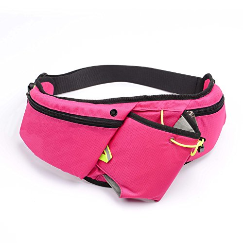 Thermal Nathan (Sport Waist Bag U-TIMES Adjustable Running Belt Pouch Stretch GYM Waist Pack For Women & Men - With Water Bottle Holder/Headphone Jack Hole/Fluorescent Tape(Rose Red))