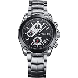 Voeons Men's Black Steel Casual Watch with Calendar and Chronograph 6123