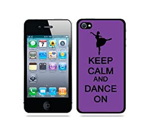 Keep Calm And Dance On Purple - Protective Designer BLACK Case - Fits Apple iPhone 4 / 4S / 4G