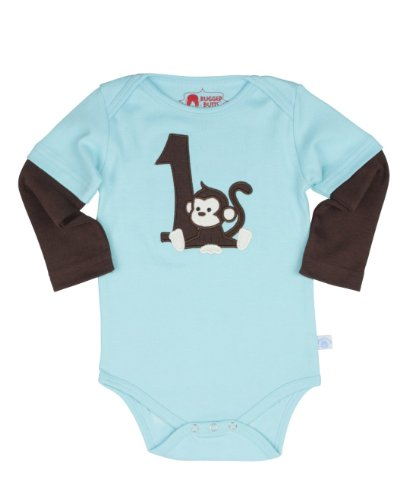 RuggedButts Infant / Toddler Boys Blue LS First Birthday Bodysuit w/ Monkey - Light Blue - 12-18m