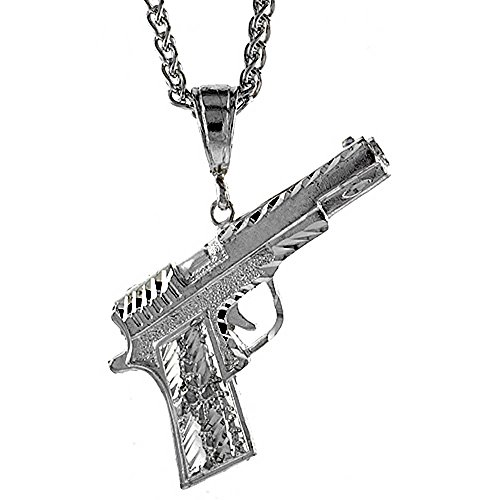 Revoni - Pendentif Homme - Argent massif - Pistolet Colt 45