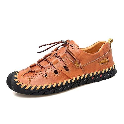 lumière marron 48 EU 2019 Sandales Homme, Pour des hommes Sports en Plein Air Sandales Mode Décontracté en Plein Air Chaussures d'eau pour Hommes Lace Up Ox en Cuir Confortable Creux Et Anti-Collision