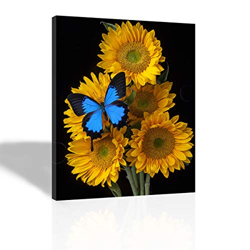 Purple Verbena Art - (12''x16'' Framed 5 Yellow Sunflowers with 1 Blue Butterflies Prints on Canvas Painting, Modern Giclee Canvas Prints Artwork Abstract Landscape 1 Panel Painting for Home Decor