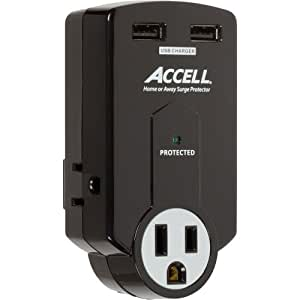 Accell D080B-011K Travel Surge Protector with 612 Joules Dual USB Charging, 3 Outlets, Folding Plug - Black