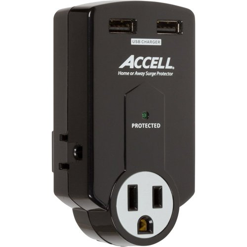 Accell 3-Outlet Travel Surge Protector with 2x USB Charging Ports and Folding Plug - Black - 612 Joules, 2.1A USB Output, ETL Listed