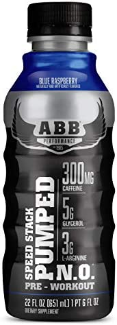 American Body Building ABB Speed Stack Pumped N.O, Pre-Workout Energy Shake, High Caffeine and Performance with Zero Sugar, Blue Raspberry Flavored, Ready to Drink 22 oz Bottles, 12 Count