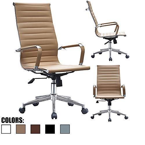 Boss Leather Chair - 2xhome - Modern High Back Tall Ribbed PU Leather Swivel Tilt Adjustable Chair Designer Boss Executive Management Manager Office Conference Room Work Task Computer (Tan)