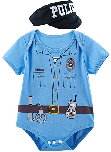 Baby Police Costume (COSLAND Infant Baby Boys' Police Costume Bodysuit with Hat (Blue, 0-3)