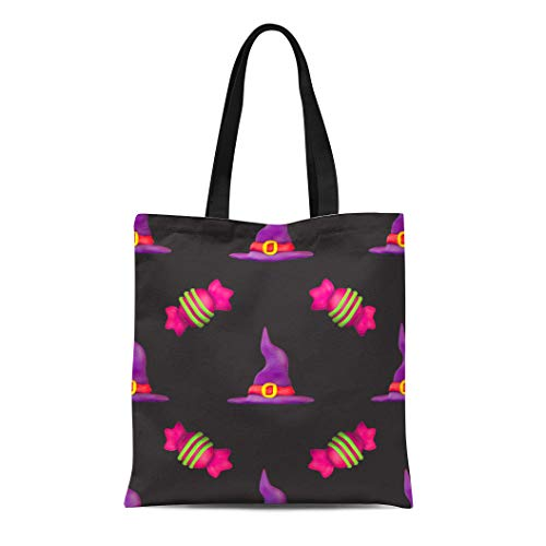 Semtomn Cotton Canvas Tote Bag Purple All Plasticine for Halloween Dark Pattern Fills Saints Reusable Shoulder Grocery Shopping Bags Handbag Printed]()