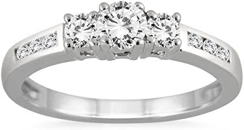 AGS Certified 1/2 Carat Diamond Three Stone Ring in 10K White Gold (K-L, I2-I3)