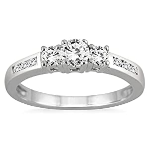 AGS Certified 1/2 Carat TW Diamond Three Stone Ring in 10K White Gold (K L Color, I2 I3 Clarity)