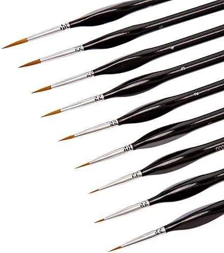 AIEX 9ピース 細部ペイントブラシ ミニチュアペイントブラシキット ミニペイントブラシセット アクリル 水彩 油絵 顔 釘 スケール モデルペイント ラインドローイング(ブラック)