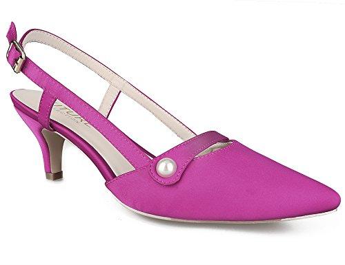 MaxMuxun Womens Fuxia Formal Classic Kitten Slingback Heels Pumps Shoes Size 9 Slingback Pump Shoes